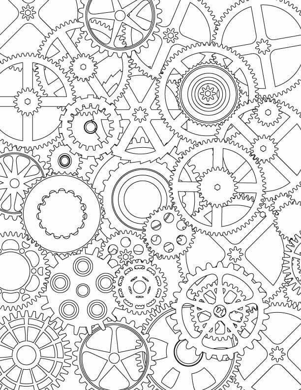 Steampunk Coloring Page Steampunk Coloring Gear Drawing Coloring Pages
