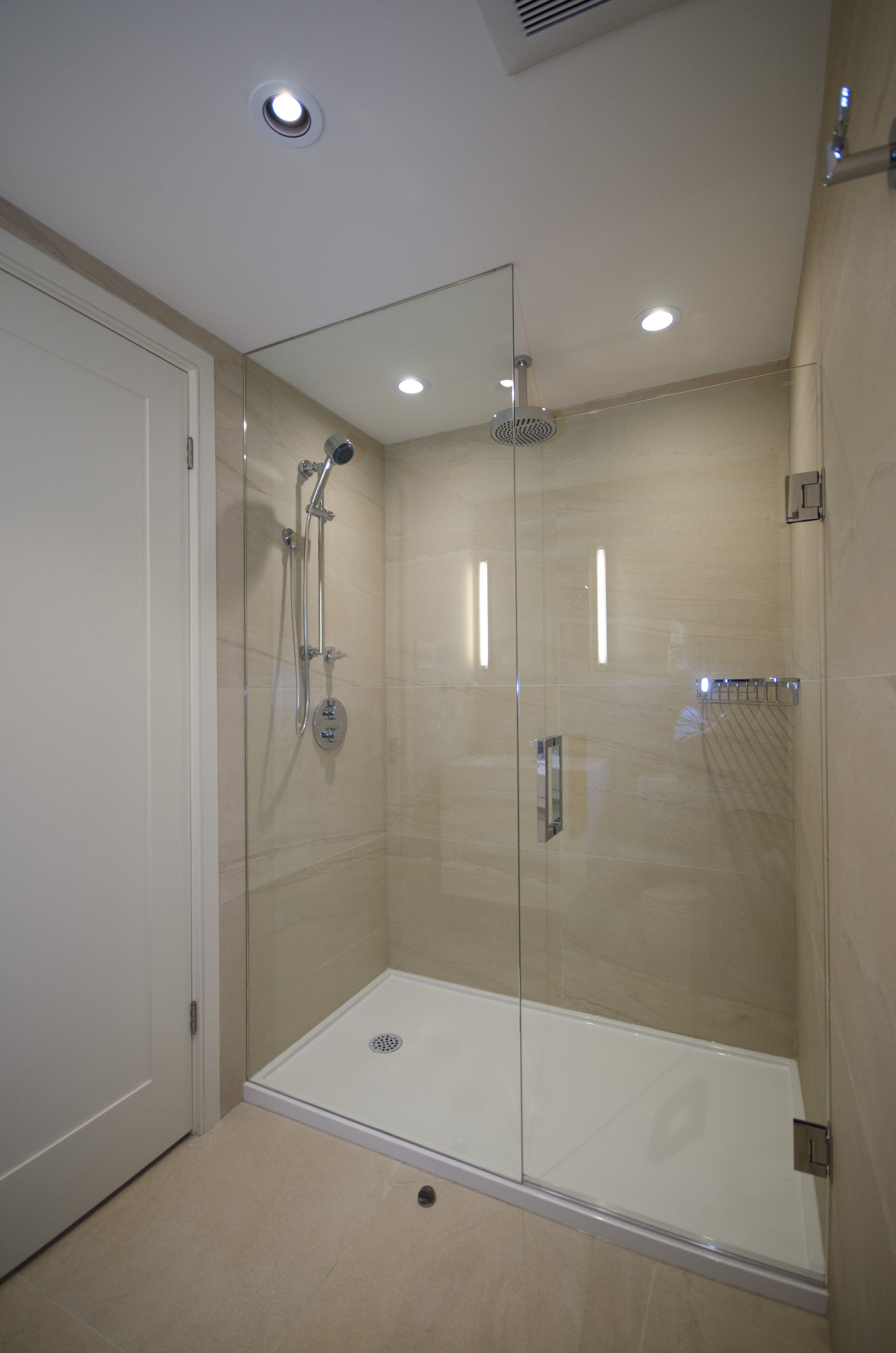Large Shower Enclosure with Custom Glass | Bathroom Renovations ...