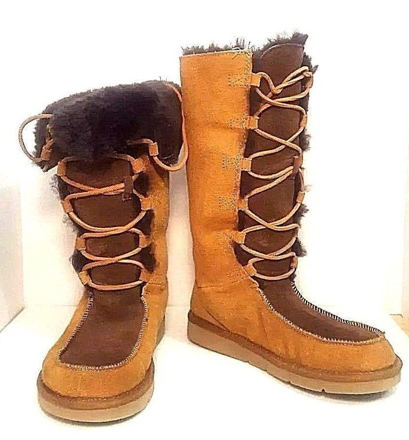 df12e2b9b6a7 UGG Australia Whitley Uptown Brown Suede Sheepskin Lace Up Boots Size 6 US  37EU  UGGAustralia  MidCalfBoots