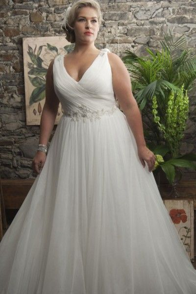 Affordable Price Of Lovely A Line Sweep Brush Train Straps Tulle Fabric Plus Size Wedding Dresses With Beading Style UK Online Shopping