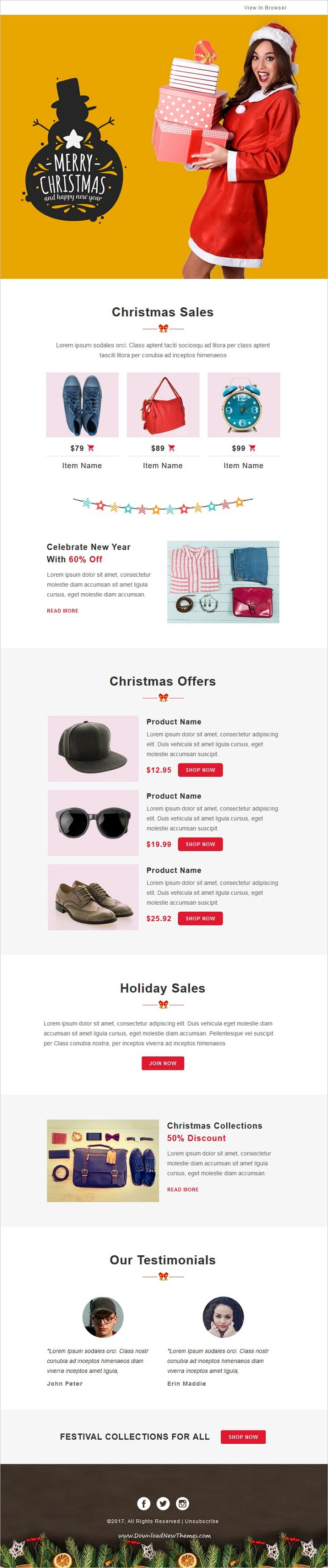 Festival  Christmas Responsive Email Template   Notifications