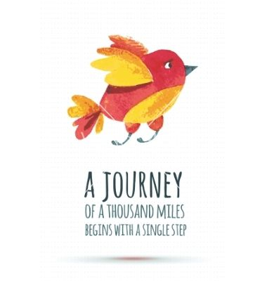 Doodle watercolor bird vector. Inspirational quote typography. A Journey of a thousand miles begins with a single step - by Shumo4ka on VectorStock®