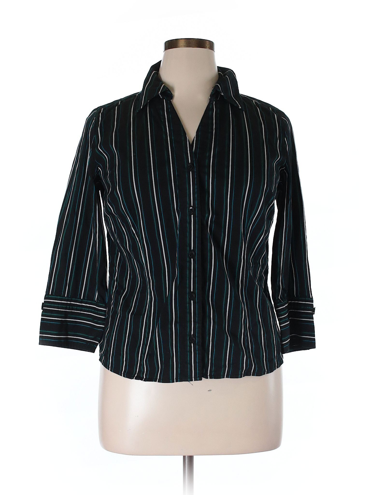 c8610a124 Alfani 3/4 Sleeve Button Down Shirt: Size 14 Black Women's Tops ...