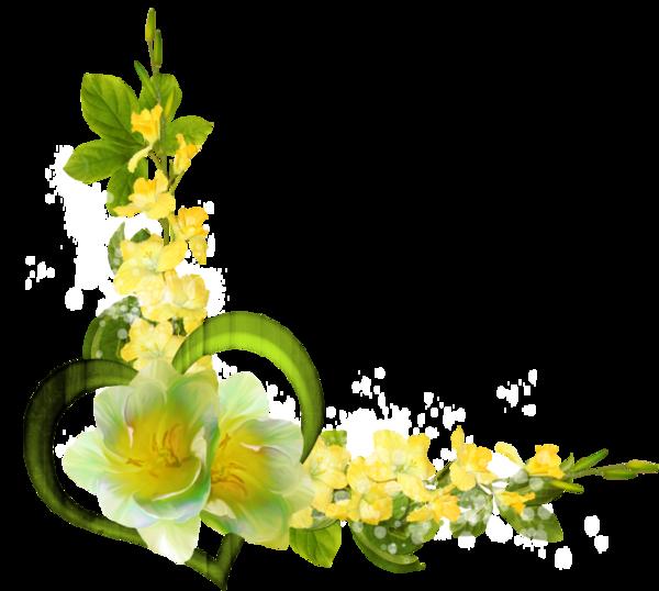 corners, corners, borders Yellow flowers, Flowers