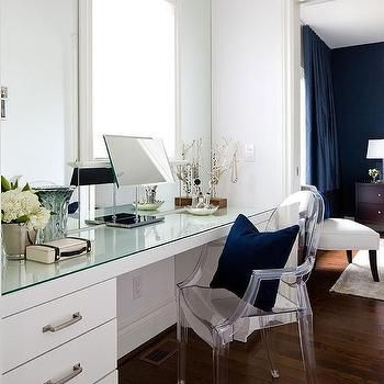 Glass Top Dressing Table with Ghost Chair | Bedroom ideas ...