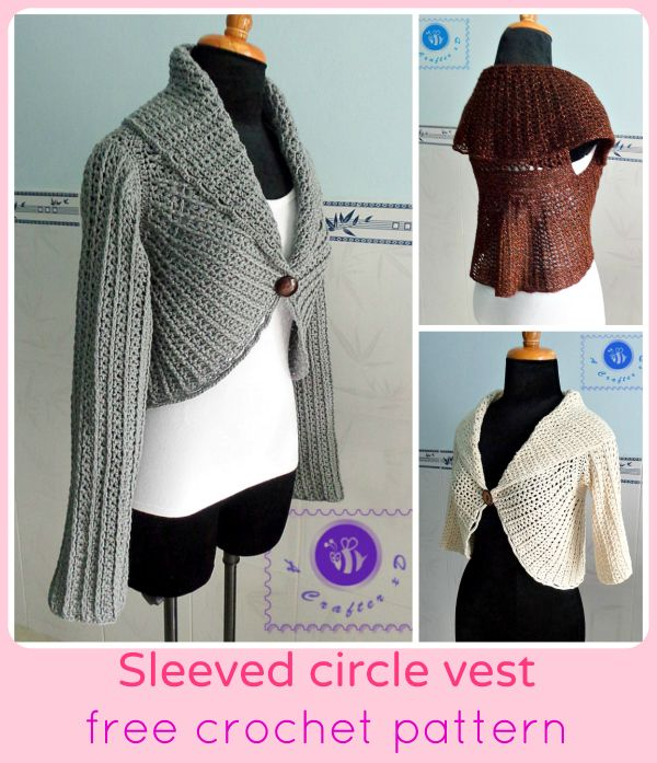 crochet circle vest with sleeves - free pattern   *** Beautiful FREE ...