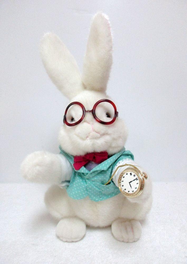 Vintage Alice In Wonderland White Rabbit Plush Stuffed Animal Toy