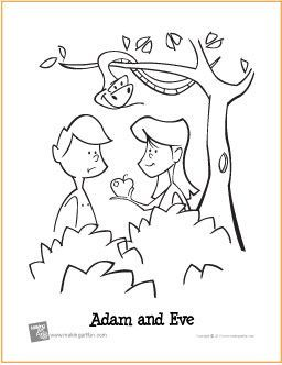 Adam and Eve Garden of Eden Free Printable Coloring Page