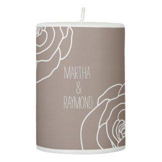 Beige Hand-drawn Rose Pillar Candle