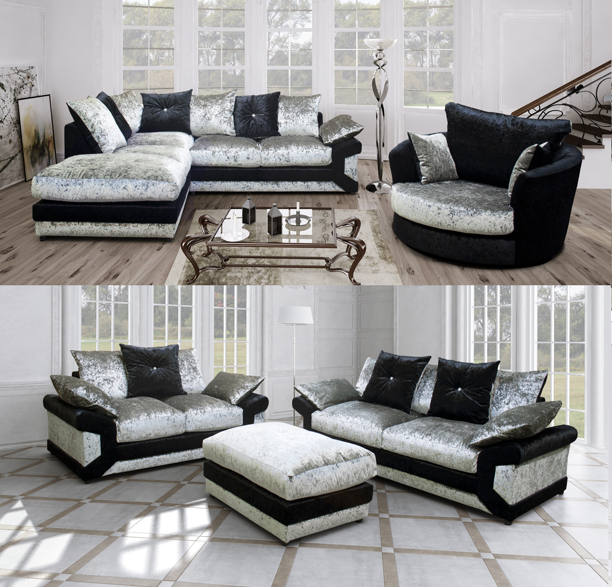 Rihanna Corner Sofa 3 2 Seater Sofa Crushed Velvet Black Silver Ebay Corner Sofa And Swivel Chair Corner Sofa Fabric 2 Seater Corner Sofa