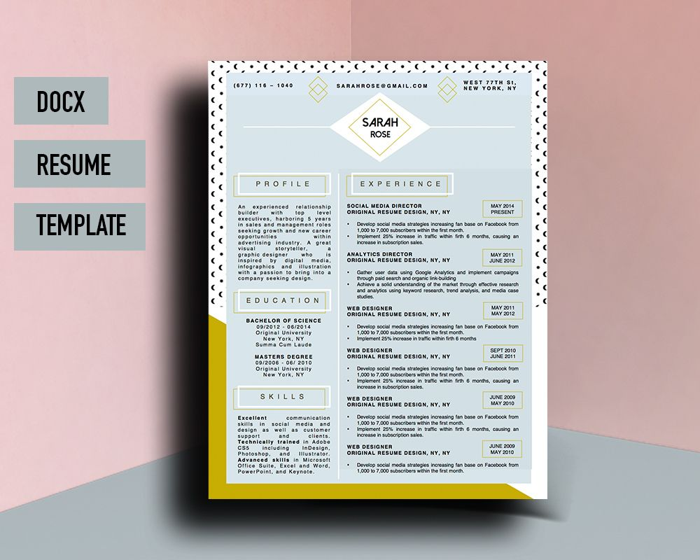 Beautiful Resume Cv Template For Microsoft Word With Matching Cover Letter  By Original Resume Design | Sarah Rose Beautiful Resume Template |  Pinterest ...