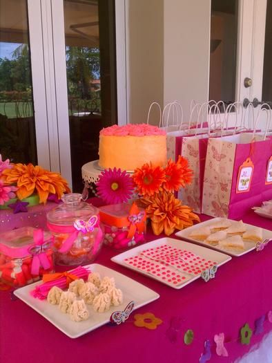 Neon Dessert Table and Favor Bags - Love the Flowers!