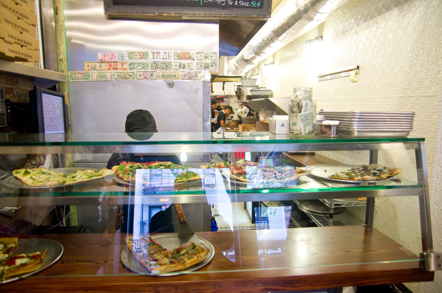 Rizzo's Thin Crust Sicilian Meets High Expectations on the Lower East Side   Slice Pizza Blog - Green olives for my hubby.