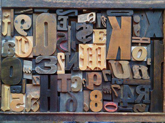Antique Letterpress Printers WOOD TYPE