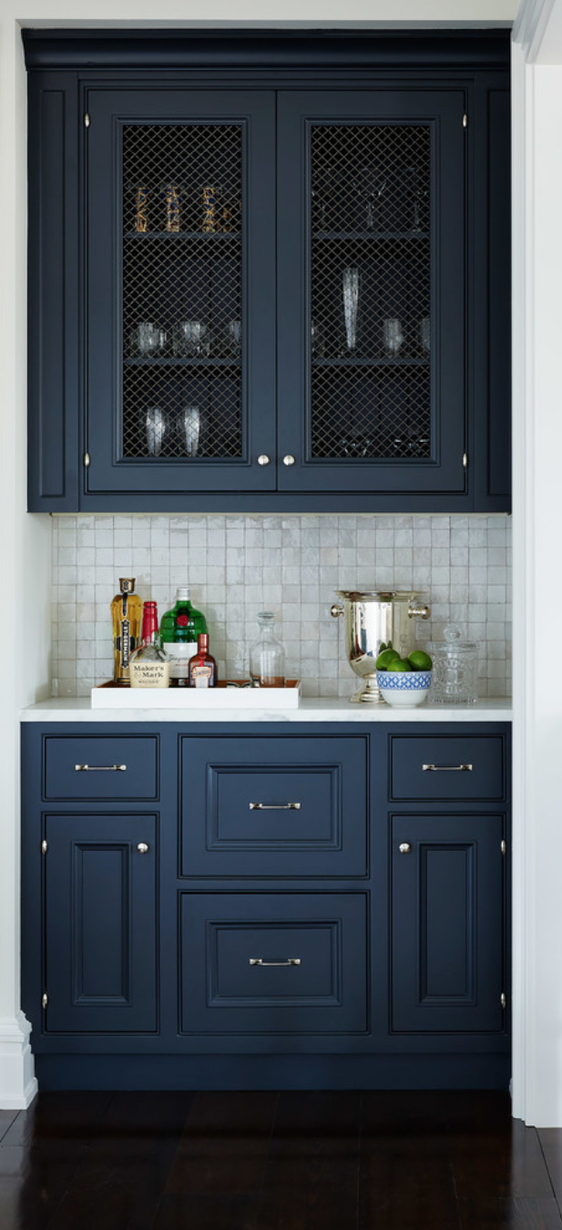Wet Bar Idea Caged Uppers And Dark Colour Blue Kitchen Cabinets Kitchen Inspirations Kitchen Remodel
