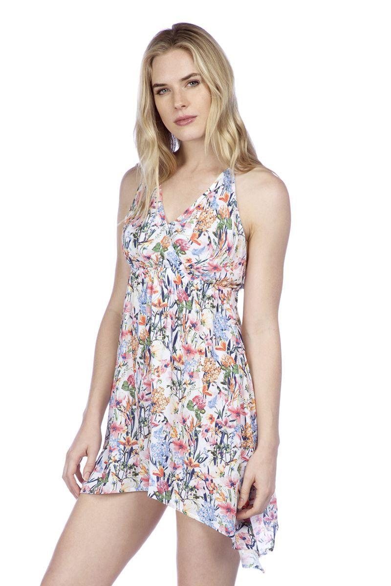cb5c6f03487c7 Lucky Brand Women s Lucky Garden Faux Wrap Swing Dress Swim Cover Up ...