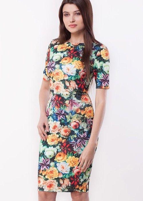 Trending multicolour floral boat-neck half-sleeve knee-length chic bodycon-dresses best for summer via @Roposo
