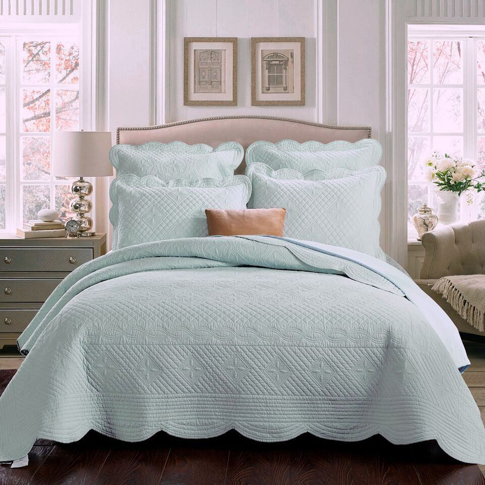 Captivating Sage Garden Quilt In Light Aqua, Solid Color Matelasse Bedding By Calla  Angel