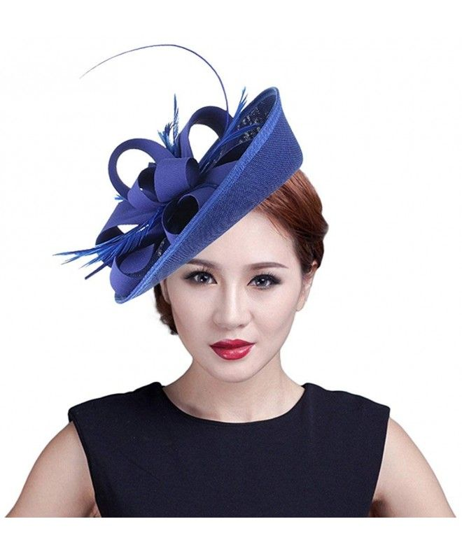 750beb8ab31 Women Wedding Party Bow Feather Fascinator Hair Clip Hat - Blue -  C012NVMX7S0