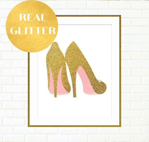 Gold Shoes Print, Pink Gold Wall Art, Vanity Wall Decor Prints, High ...