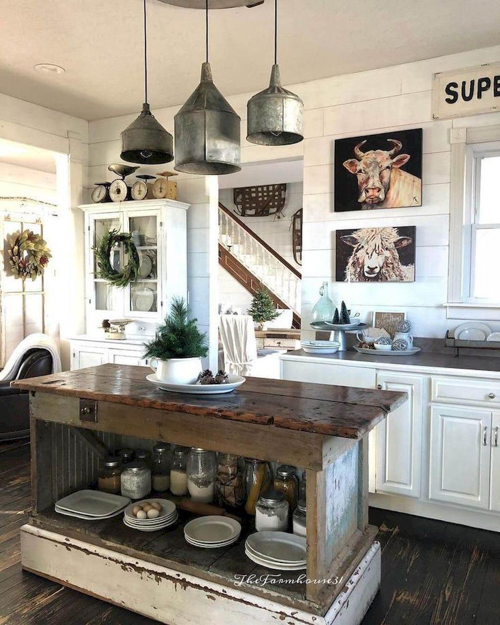 80 Awesome Rustic Farmhouse Kitchen Cabinets Decor Ideas Of Your Dreams Http Proba Farmhouse Style Kitchen Rustic Industrial Kitchen Farmhouse Kitchen Decor