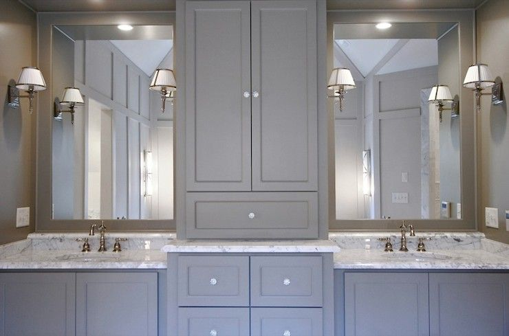 Fitzgerald Construction - bathrooms - Benjamin Moore - Gettysburg Gray - gray bathroom, gray cabinets, gray bathroom cabinets, gray bath cab... #graycabinets
