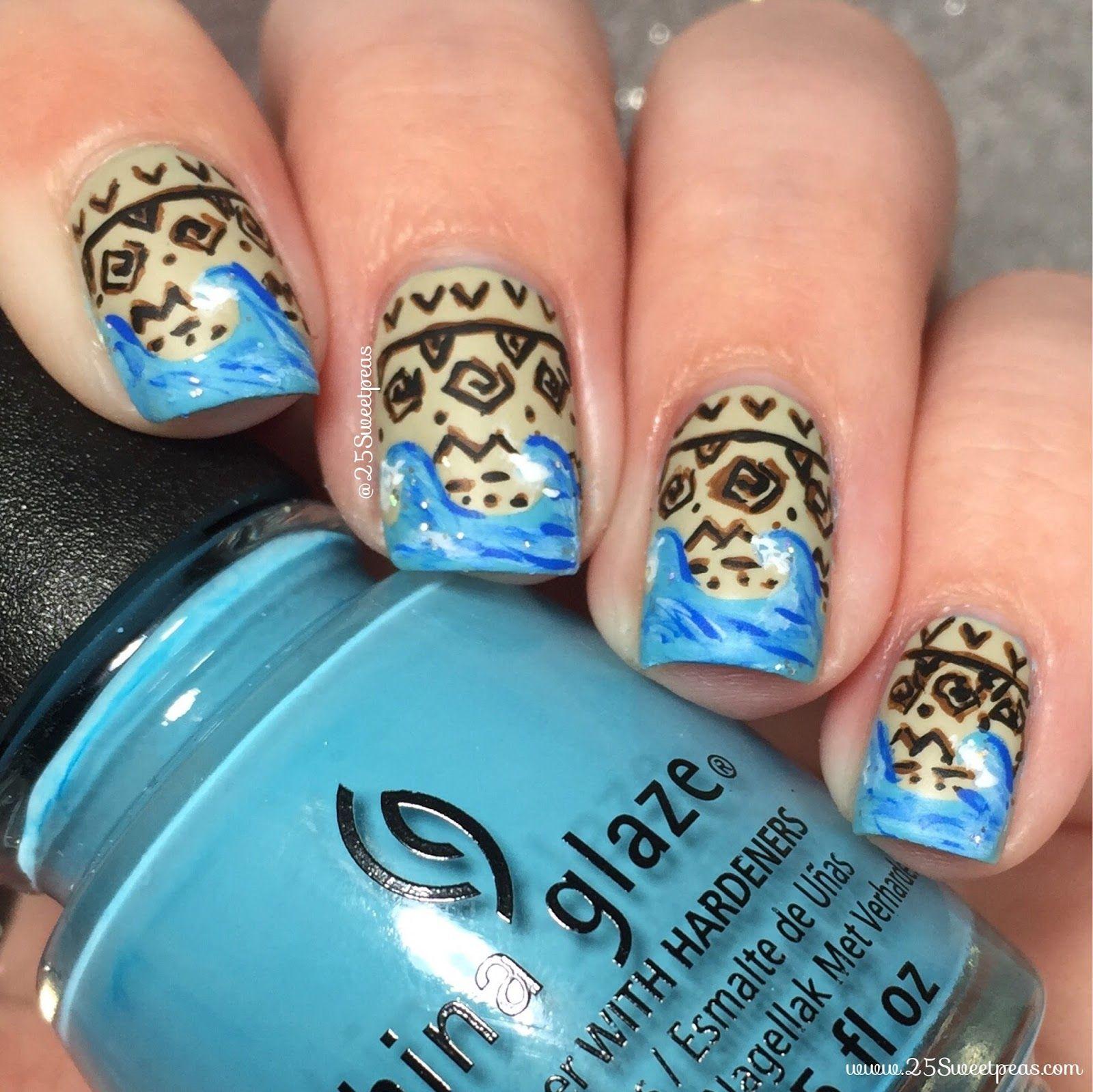 Moana Disney Nails Designs: Moana Nail Art Inspired By Disney's Hit Movie.