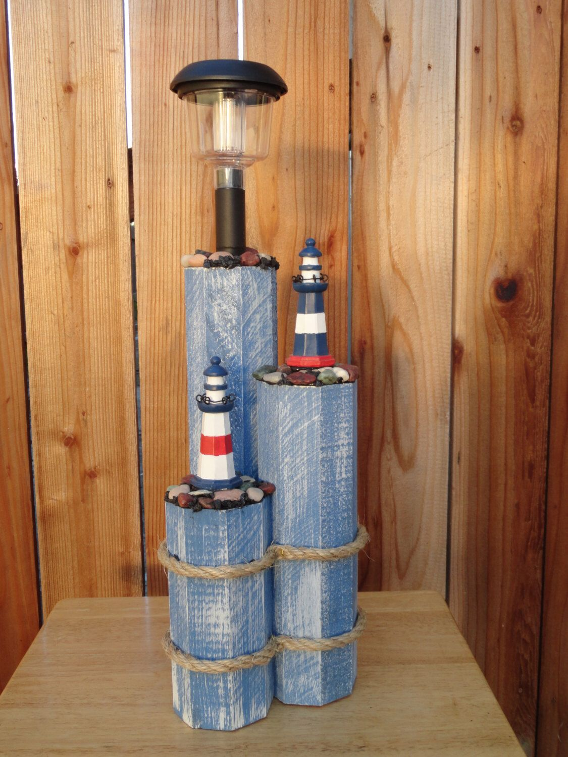 Small solar lights for crafts - Wooden Post Decor With Solar Light And Lighthouses