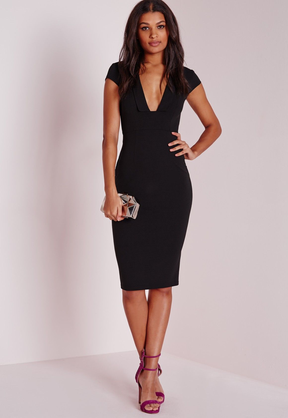 Crepe Cap Sleeve Midi Dress Black Cloths From Across The Pond