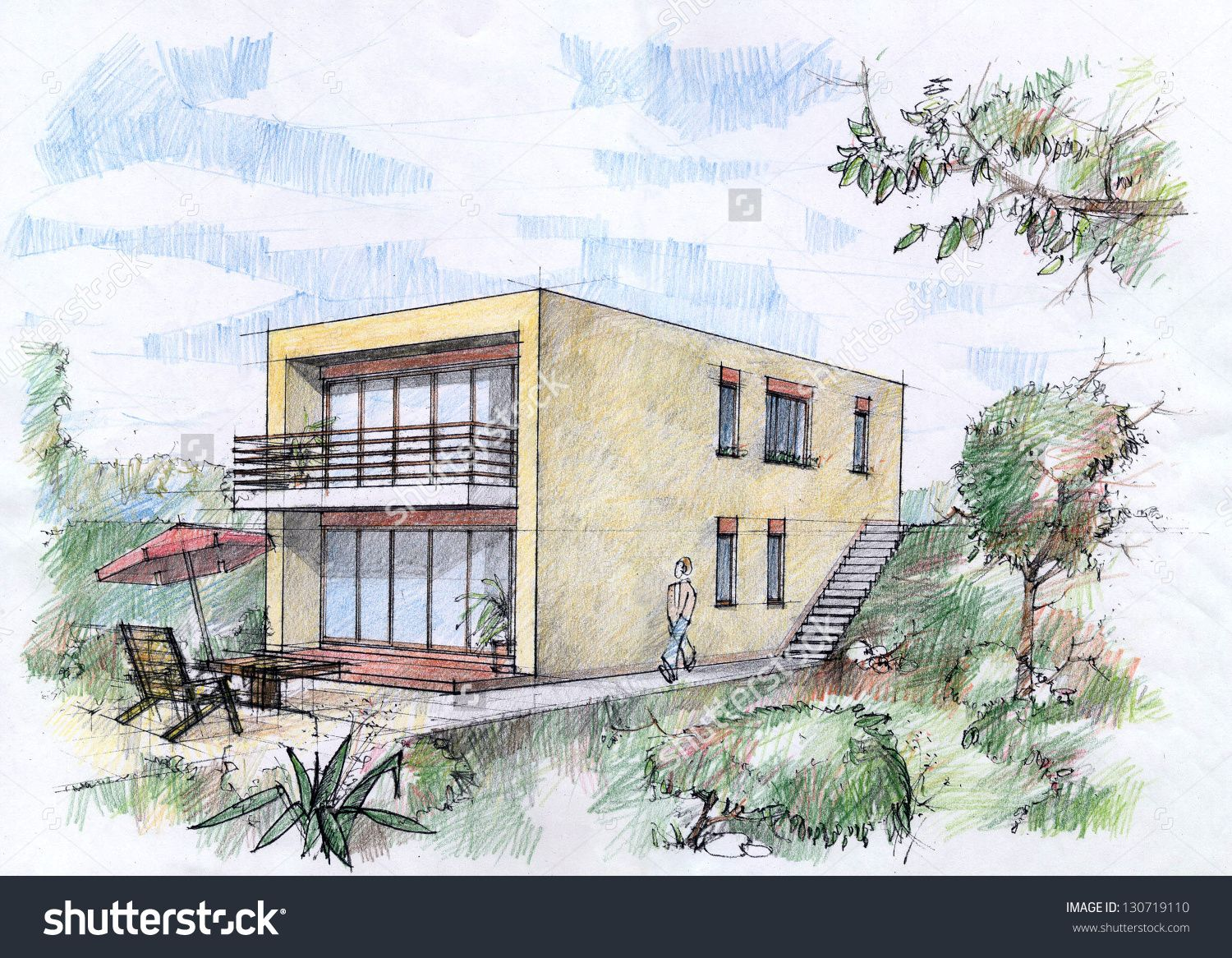 Modern house sketch modern house for Modern house sketch