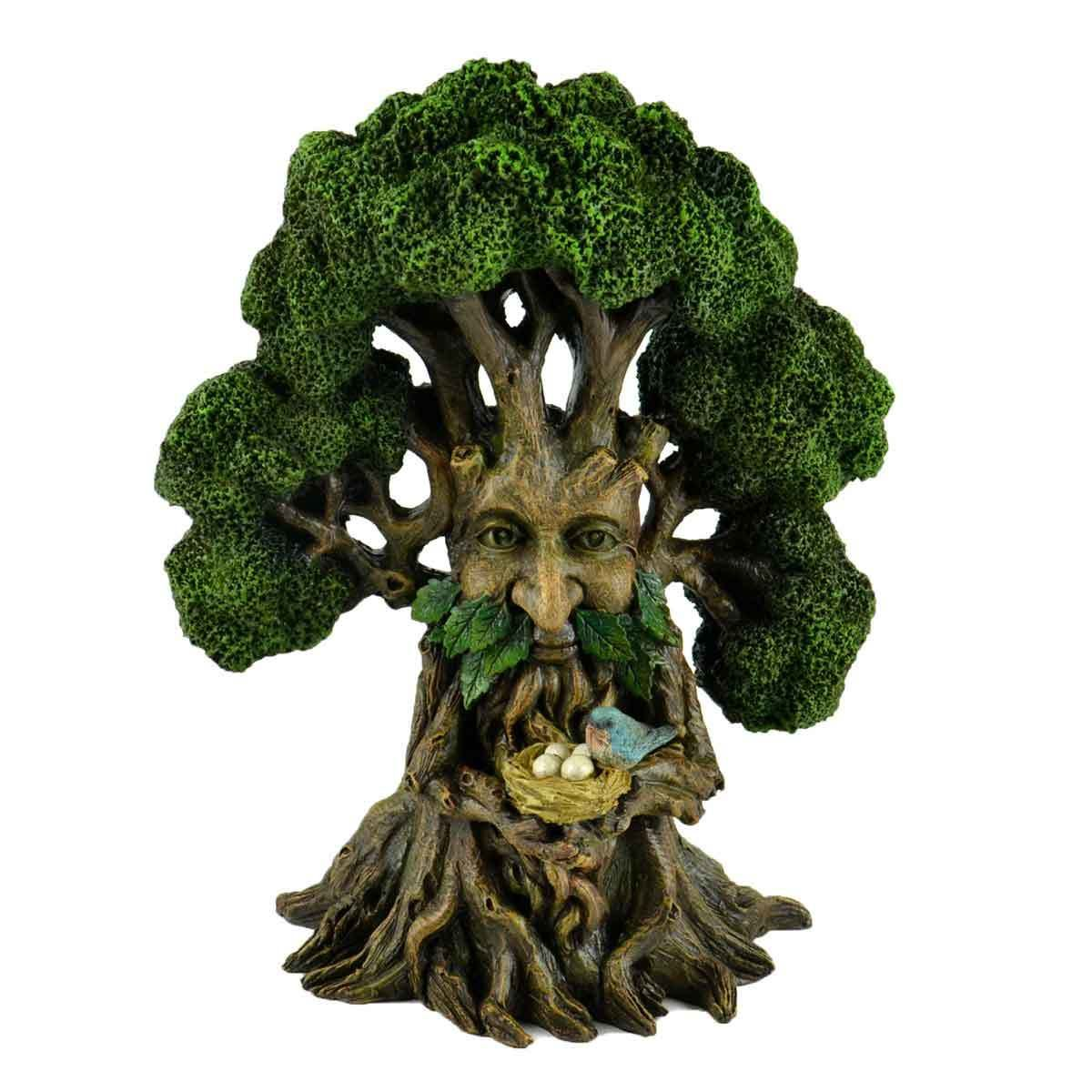 Miniature Dollhouse FAIRY GARDEN Tree With Face Holding Nest
