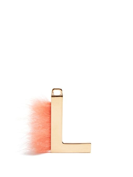 abclick letter l mink charm for handbag multi gold fendi