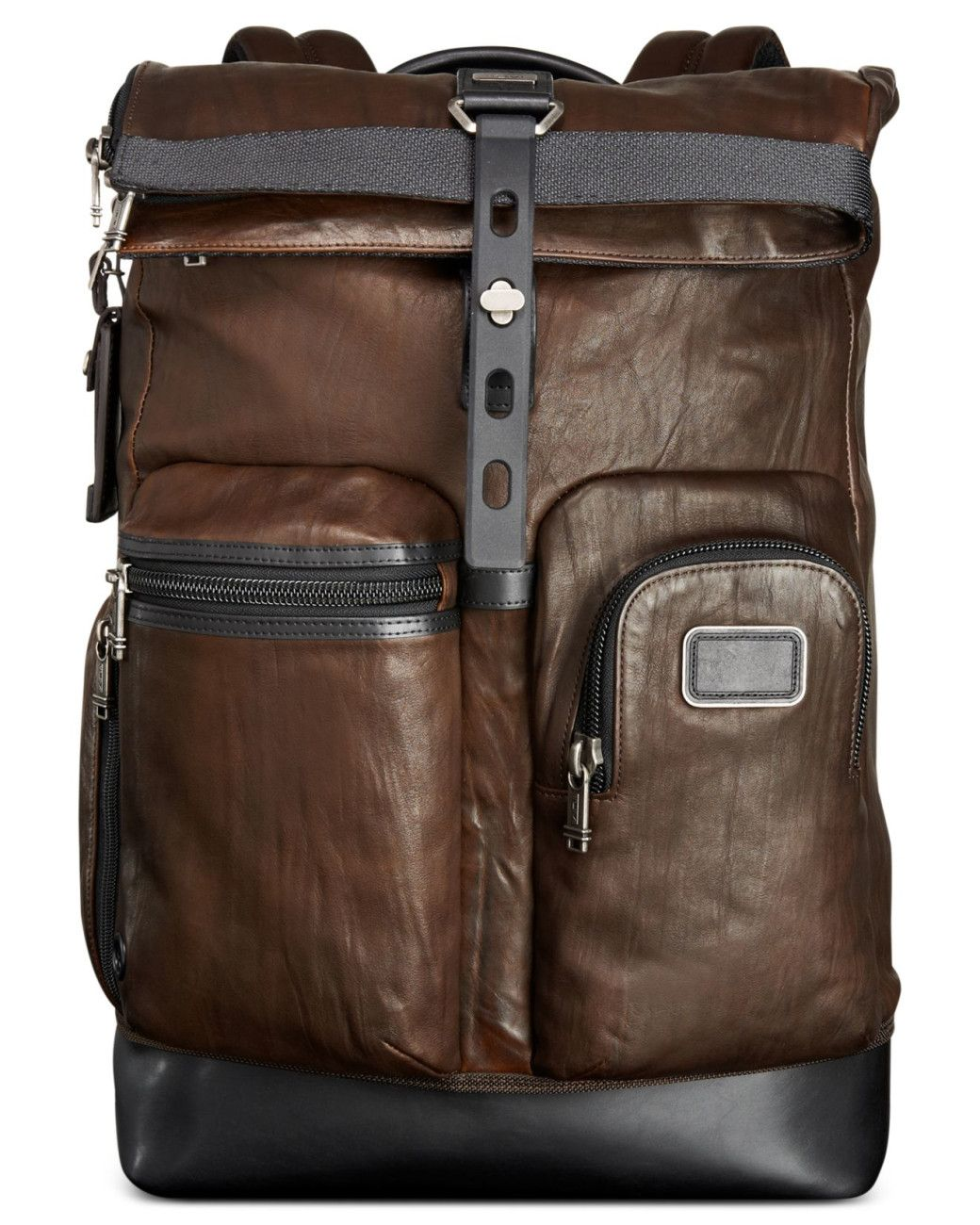 Tumi | Brown Alpha Bravo Luke Roll-top Leather Backpack for Men ...