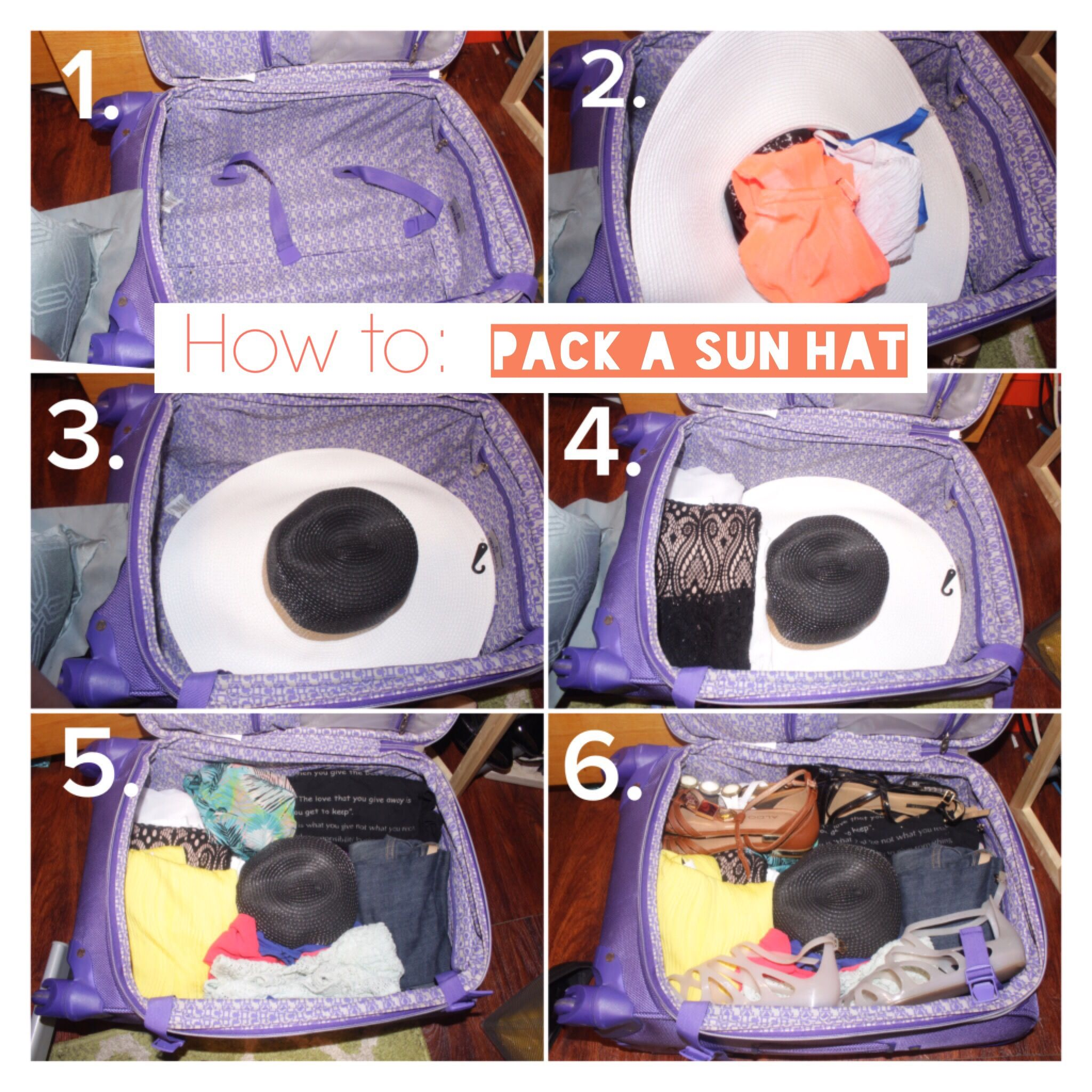 0513b3f6d How to: Pack a sun hat in a carry-on luggage with 6 easy steps ...