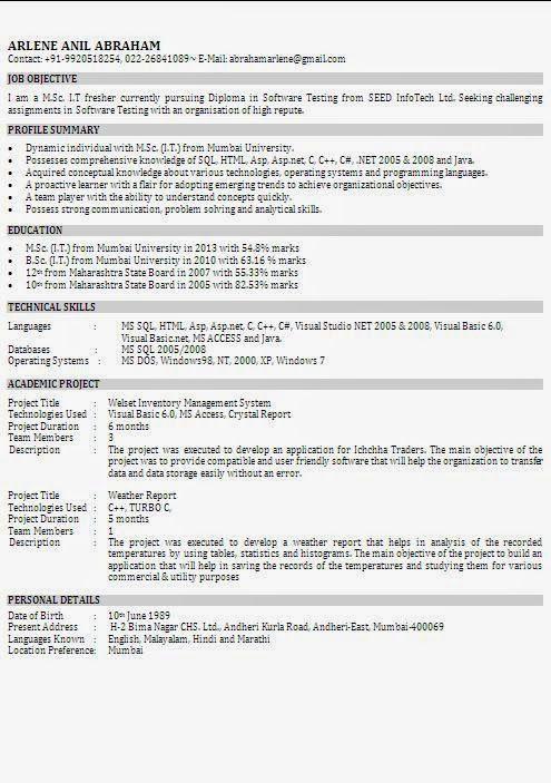 certified resume writers Sample Template Example ofBeautiful CV - profile format