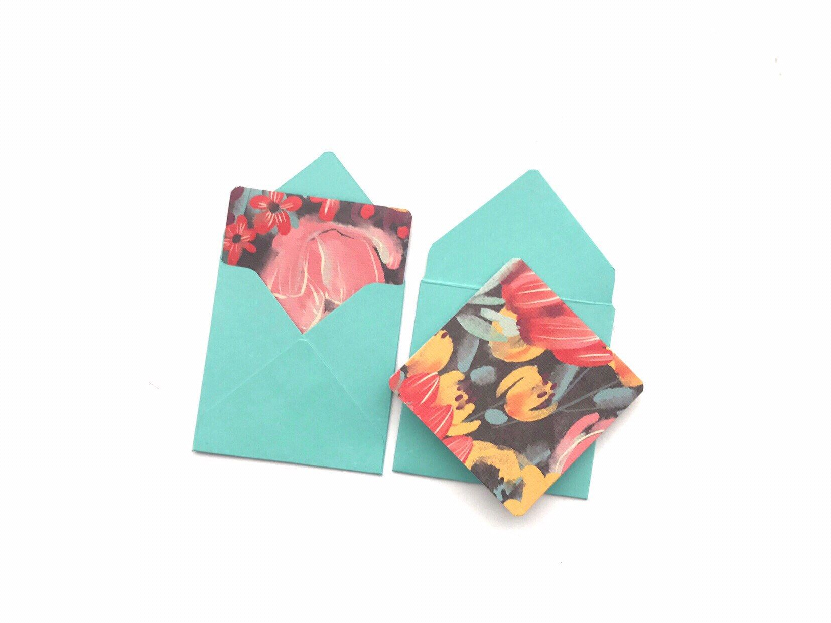 Watercolor Mini Cards Tiny Envelopes For Blank Note Cards