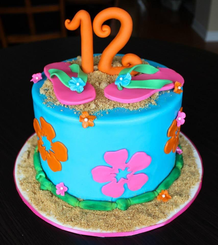 Peachy Tropical Hawaiian Hawaii Themed Kids Birthday Cake With Fondant Funny Birthday Cards Online Inifofree Goldxyz