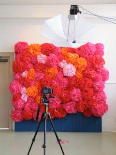 Tissue poms attached to chicken wire background.  fun photoprop idea, but i'm thinking cute for girl's room.