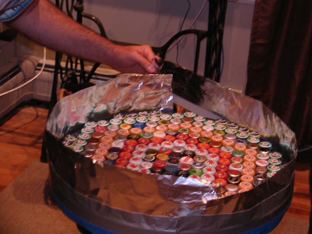 Bottle Cap Table With Poured Resin Surface Diy Table Top