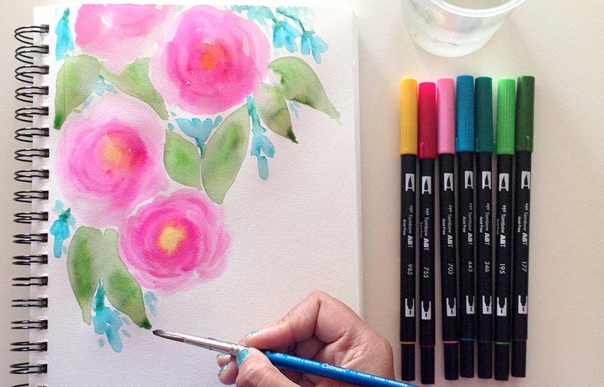 Watercolor Roses Tutorial Watercolor Brush Pen Pen Watercolor