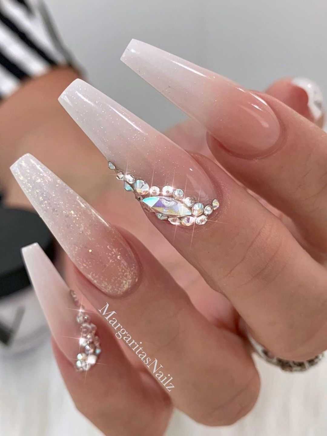 Super Elegant French Ombre Gel Coffin Nails With Glitter And