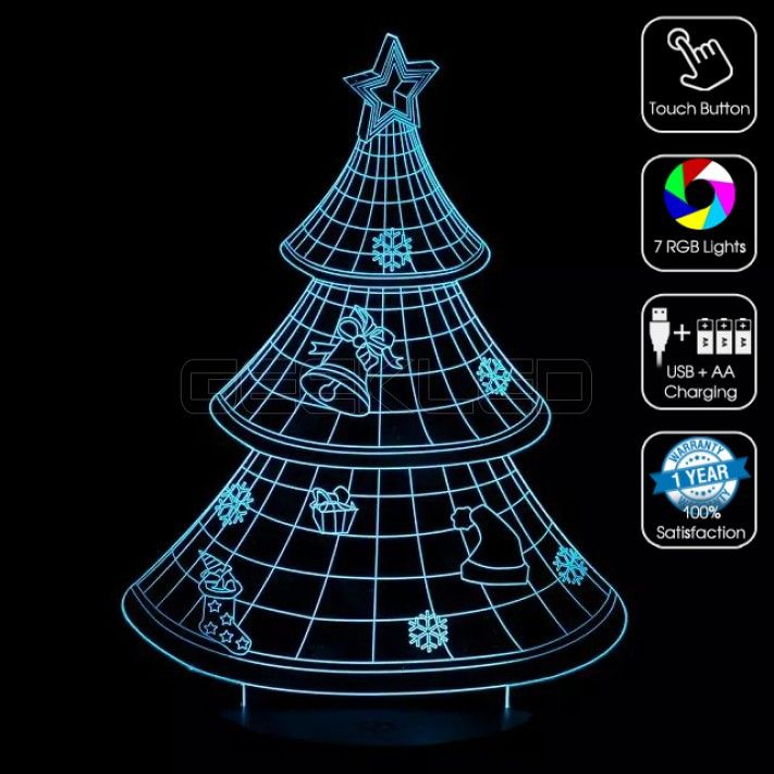 3D Christmas Tree Optical Lamp with Remote Control   3D Optical ...