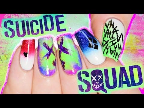 Suicide Squad Nail Art Tutorial coz I'M BORED PLAY WITH ME - YouTube