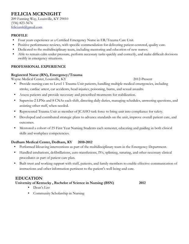Mid Level Nurse Resume Sample  Emergency Nurse Resume