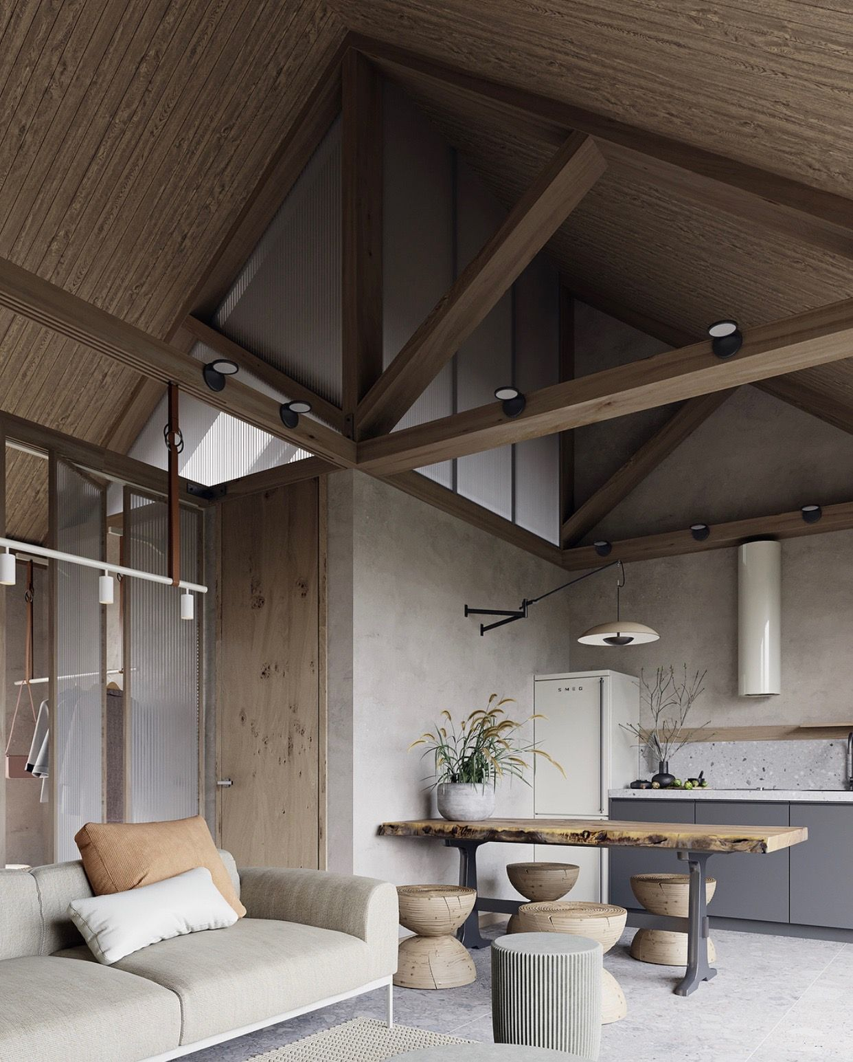 Loft interior design cute kitchen architecture interiors danish industrial also pin by   mclendon on residuals in house rh pinterest