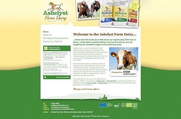 Website Design In Exeter Devon Ashclyst Farm Dairy Website Www Ashclystfarmdairy Co Uk Devon Portfolio Images Design