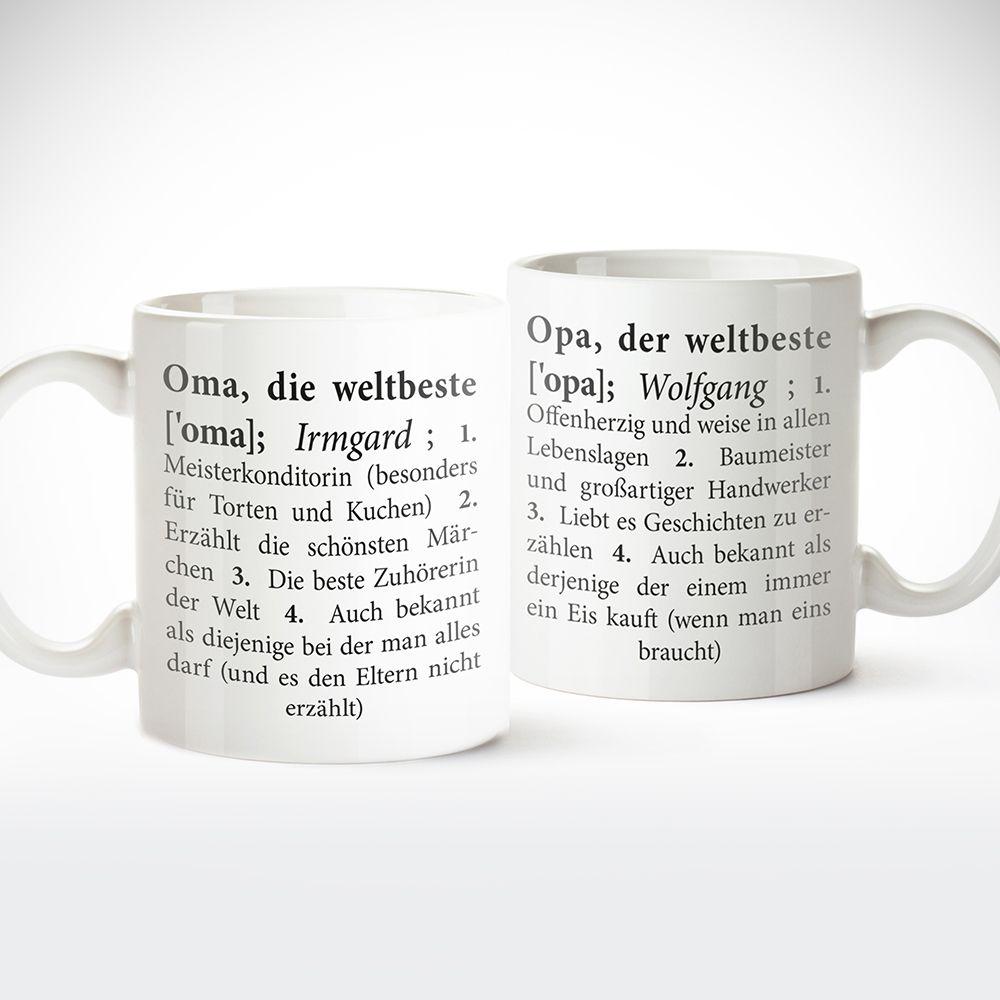 2er Tassenset Definition Oma Und Opa Personalisiert Tasse