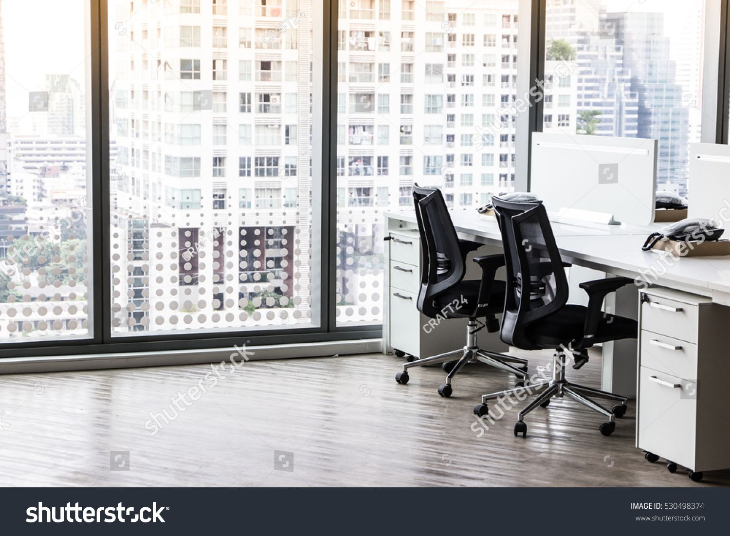 Modern Office With Open Space To Work Thought The Window And Background City Open Space Modern Office Office Interiors Coworking Office Space Modern Office