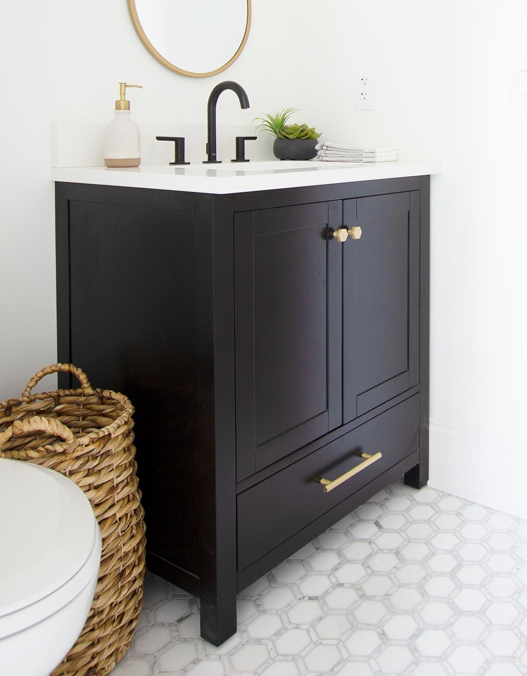 How to Create a Beautiful Guest Bathroom - Plank and Pillow