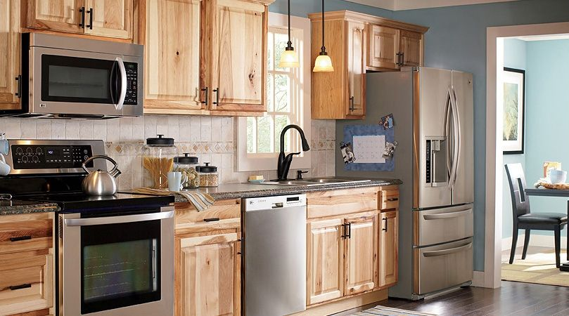 American Classics Hampton Natural Hickory Kitchen Cabinets